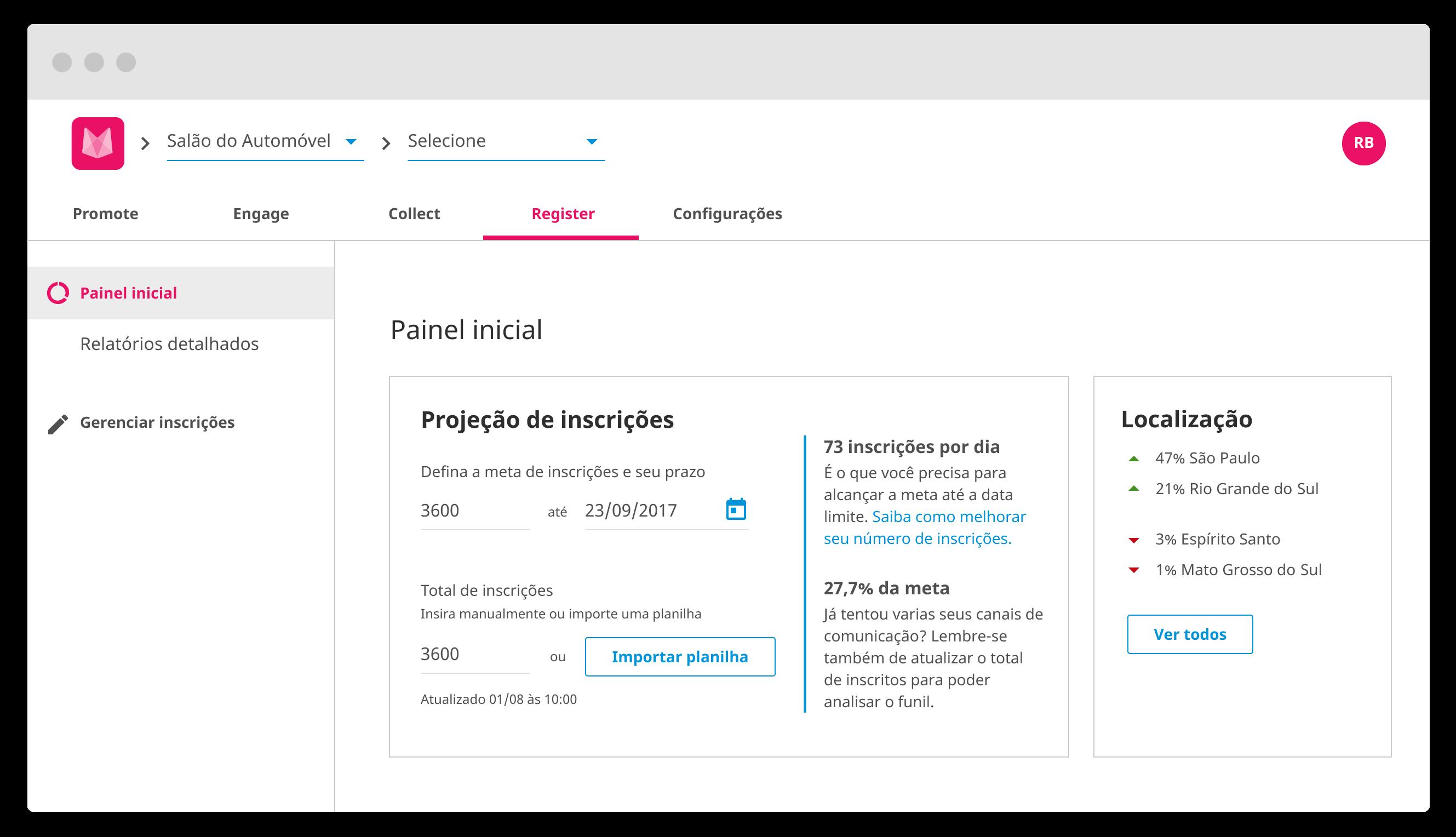 Interface do Register, solução para inscrições em eventos da mobLee